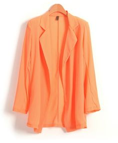 Orange Chiffon Blazer