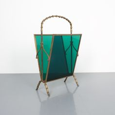 Delicate magazine rack comprised of brass and green Lucite panels. The rack is in good condition with Faux Bamboo, Mid Century Modern Design, Midcentury Modern, Bold Colors, Magazine Rack, Objects, Delicate, Brass, Hollywood Regency