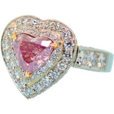 Rare Fancy Intense Pink Diamond Ring ($285,000) ❤ liked on Polyvore featuring jewelry, rings, accessories, fillers, diamond jewelry, heart shaped engagement rings, pink jewelry, 18k diamond ring and 18 karat gold ring