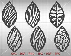 Animal Print Tear Drop SVG, Pendant SVG, Vector DXF, Leaf Leather Earring Jewelry Laser Cut Template Commercial Use