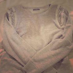 Zara cropped gray sweater Zara sweater with embellished shoulders worn once great condition! Zara Sweaters Crew & Scoop Necks