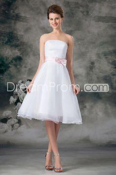 [$99.99] A-Line Strapless Sleeveless Natural Zipper Homecoming Dresses