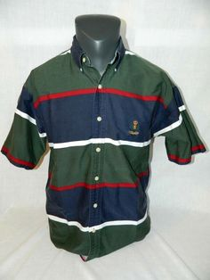 e92d0cad8 VTG Chaps Ralph Lauren Mens M Button front shirt Striped Color Block 90's  #Chaps #