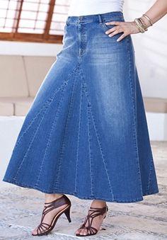 Denim Plus Size Long Denim Skirt Blue Jeans, Big And Tall Outfits, Plus Size Outfits, Skirt Outfits, Dress Skirt, Jeans Refashion, Denim Ideas, Plus Size Skirts, Recycled Denim