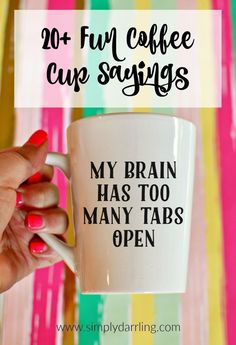 Fun Coffee Cup Sayings Want to make some fun coffee cups for gifts or for yourself? Here are over 20 fun coffee cup sayings to get your creative juices flowing! Perfect for crafting with your Silhouette Cameo or Cricut vinyl cutters. Vinyle Cricut, Creative Crafts, Diy And Crafts, Crafts For Gifts, Fun Gifts, Easy Crafts, Cricut Vinyl Cutter, Stampin Up, Licht Box