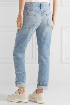 Current/Elliott - The Patchwork Crossover Mid-rise Straight-leg Jeans - Mid denim - 28