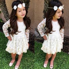 New Fashion Kids Toddler Baby Girl Clothes Flower White Beautiful Brief Long Sleeve Lace Tutu Party Dresses 2 4 6 8 10 year Fashion Kids, Toddler Fashion, Fashion Clothes, Latest Fashion, Winter Fashion, Fashion Trends, Flower Girls, Flower Girl Dresses, White Dresses For Girls