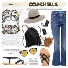 """Hot Coachella Style"" by ifchic ❤ liked on Polyvore featuring Markus Lupfer, M.i.h Jeans, Ancient Greek Sandals, H&M, Janessa Leone, Oliver Peoples, Anja, Sigma Beauty, contestentry and ifchic"