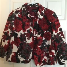 Talbots Jacket Blazer Red, black & white floral print swing jacket from Talbots. 3/4 sleeve, fabric buttons, fully lined, hardly worn. Talbots Jackets & Coats Blazers