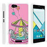 BLU Studio Energy Phone Case, Perfect Fit Cell Phone Case Hard Cover with Cute Design Patterns for BLU Studio Energy D810L (AT&T, T Mobile, MetroPCS) from MINITURTLE | Includes Clear Screen Protector and Stylus Pen - Zebra Merry Go Round
