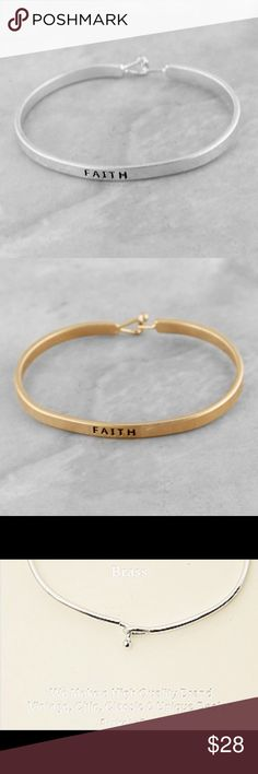 """Inspirational bangle Price is for1 bangle.    Brushed metal with stamped inscription Faith Clasp closure Size - 2.5"""" X 2""""  ♥️ this bracelet will be marked down to $18 this weekend so let me know if you want it♥️ Jewelry Bracelets"""
