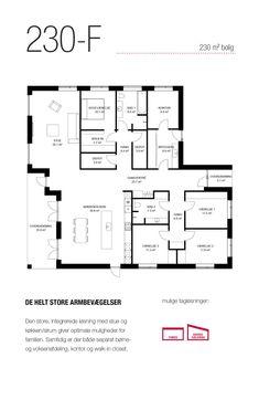 230 kvm stort funkis-hus med separat børne- og voksenafdeling, kontor og walk-in closet