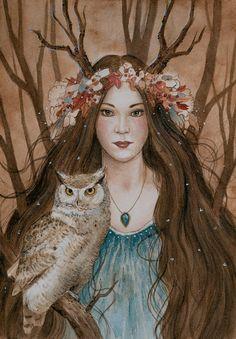 """Forest Guardians"" Fantasy Art Watercolour Painting by Katrina Winter Beltane, Gypsy Moon, Pagan Art, Goddess Art, Witch Art, Owl Art, Gods And Goddesses, Belle Photo, Spirit Animal"