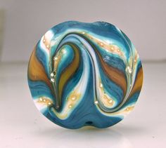 Etched Teal White Gold Silver Lampwork Focal Bead