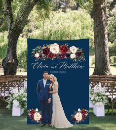 Big, bold and beautiful, our customized navy backdrop with marsala flowers set the scene for photography. Display your custom banner at the engagement party, rehearsal dinner, ceremony, reception, bridal shower or any other wedding event. Aso it can be customized for any other event!  Order