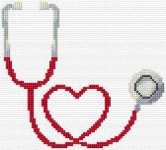 Punto De Cruz Embroidery Kit 2934 - Free cross-stitch design 'Stethoscope', 84 x 76 stitches 8 colors Learn Embroidery, Cross Stitch Embroidery, Embroidery Patterns, Hand Embroidery, Cross Stitch Boards, Cross Stitch Heart, Cross Stitch Family, Cross Stitch Designs, Cross Stitch Patterns