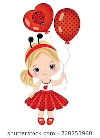 Vector cute little girl with balloons. Little girl dressed in ladybug style. Lit… Vector cute little girl with balloons. Little girl dressed in ladybug style. Little girl vector illustration Baby Girl Drawing, Drawing For Kids, Art For Kids, Cute Little Girls, Little Girl Dresses, Cute Kids, Its A Girl Balloons, Girl With Balloon, Chibi Kawaii