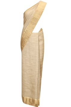 Beige yarn dye classic linen sari available only at Pernia's Pop-Up Shop.