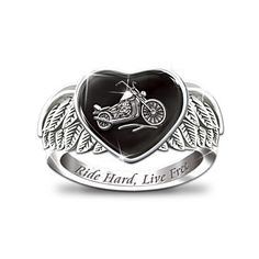 """Love this ring!!  """"Ride Hard, Live Free"""" Women's Engraved Ring  Ride Hard, Live Free Women's Ring    Solid sterling silver. Raised-relief chopper against a heart-shaped inlay of black onyx, framed by a pair of sculpted open-feathered wings. Engraved.  Price:$99.00 US   S/H $7.98 US   www.bradfordexchange.com"""