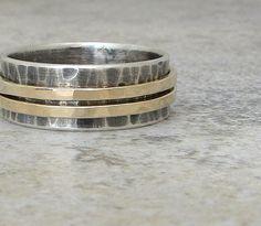 Mens Wedding Band Gold Spinner Ring Wedding Ring. $123.00, via Etsy.