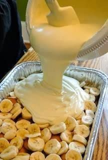 Banana Pudding...  2 bags Vanilla Wafers 6 to 8 bananas, sliced 2 cups whole milk * 1 (5 oz.) box instant French Vanilla pudding 1 (8 oz.) package cream cheese 1 (14 oz.) can sweetened condensed milk 1 (12 oz.) container frozen whipped topping thawed, or equal amount sweetened whipped cream