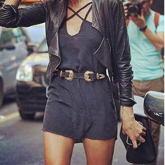 romper + leather jacket + vintage belt