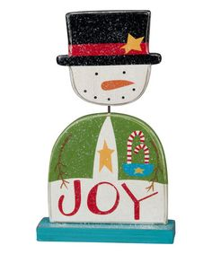 This 'Joy' Snowman Box Sign by Primitives by Kathy is perfect! #zulilyfinds