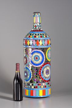 """Mardi Gras"" mosaic bottle made by Nancy Keating"