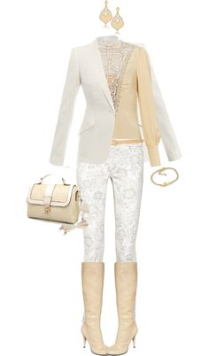 """""""White and Beige"""" by angela-windsor on Polyvore"""