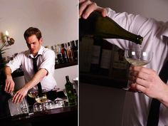 Throwing a 1920s Great Gatsby Party; Menu; Pouring champagne