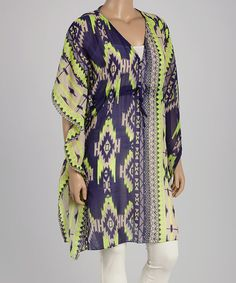 Another great find on #zulily! Lime & Navy Geometric Caftan - Plus #zulilyfinds