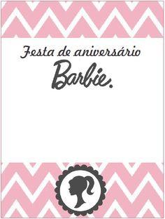 Convite Barbie silhueta para imprimir, confira no site o convite da Barbie