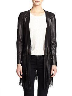 THEPERFEXT Christy Leather Fringe Jacket