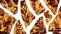 The ultimate duo, chocolate and peanut butter, are united in this addictive Chocolate Peanut Butter Bark, a tasty treat topped with Reese's Peanut Butter Cups. Semi Sweet Chocolate Chips, Chocolate Bark, Chocolate Peanuts, Chocolate Recipes, Candy Recipes, Holiday Recipes, Dessert Recipes, Holiday Foods, Drink Recipes
