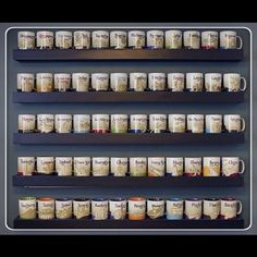 Starbucks coffee mug display, I see a need for this Coffee Mug Display, Cute Coffee Mugs, Coffee Love, Coffee Cups, Black Coffee, Coffee Drinks, Coffee Bar Home, Coffee Corner, Coffee Shop
