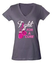 Fight For a Cure Breast Cancer Awareness Pink Ribbon Women's V-Neck T-Shirt