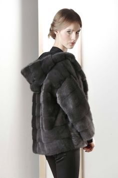 Dark Grey Dyed Mink Fur Hooded Jacket
