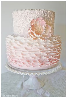 Pink Ombre Ruffles by The Pastry Studio  |  TheCakeBlog.com