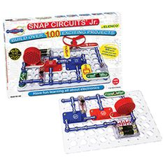 Snap Circuits Jr. - 100 in 1 and over 7,500 other quality toys at Fat Brain Toys. Dr Toy 100 Best Children's Products Winner. Even Edison would be intrigued. Engineer 101 exciting, useful electronic gadgets & play lively electronic games! A great collection of materials. All parts snap easily. All circuits are simple to build and understand. Perfect for the novice engineer. Ages 8+