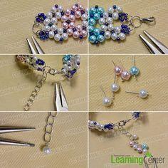 Finish the pearl bead stitch wide bracelet