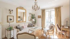Small, chic Parisian living room - via Cote de Texas
