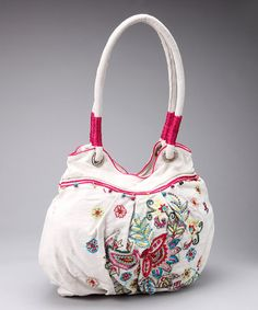 Natural Embroidered Flower Tote by Spring Trends: Embellished Bags on #zulily