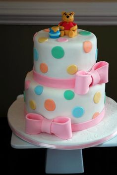 winnie the pooh baby shower cake - love the fondant work but I would pick the topper