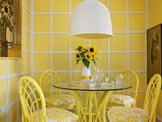 Yellow dining room remodel