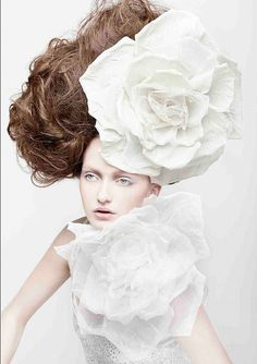 from of her divine handmade flowers in campaign image of .hair and makeup by .photo by Hair Expo, Avant Garde Hair, Creative Hairstyles, Crown Hairstyles, Shades Of White, Hair Art, White Fashion, Her Hair, White Flowers