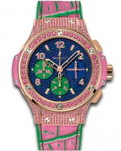 Hublot Big Bang Pop Art Anodized Blue Dial Set with Sapphires 18k Red Gold Limited Edition Ladies Watch 341.PP.9089.LR.1633.POP15