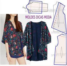 Mod@ en Line Style Kimono, Mode Kimono, Diy Clothing, Sewing Clothes, Dress Sewing Patterns, Clothing Patterns, Fashion Sewing, Diy Fashion, Costura Fashion