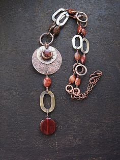 Long copper and brass natural stone necklace