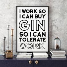 I Need Gin Typographic Print Kitchen Art Art by FuzzyandBirch