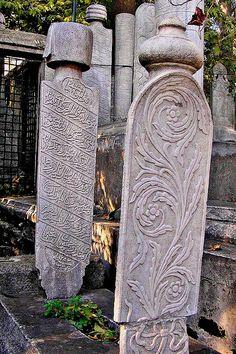 Picture: Exterior de la mezquita,desde el cementerio. Eyup Sultan Mosque (Eyup Sultan Camii), Istanbul . Cemetery Dance, Cemetery Angels, Pet Cemetery, Grave Markers, After Life, Graveyards, Stone Sculpture, Old Stone, Memento Mori
